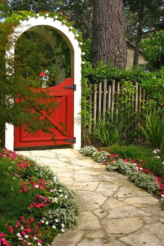 White and red garden gate