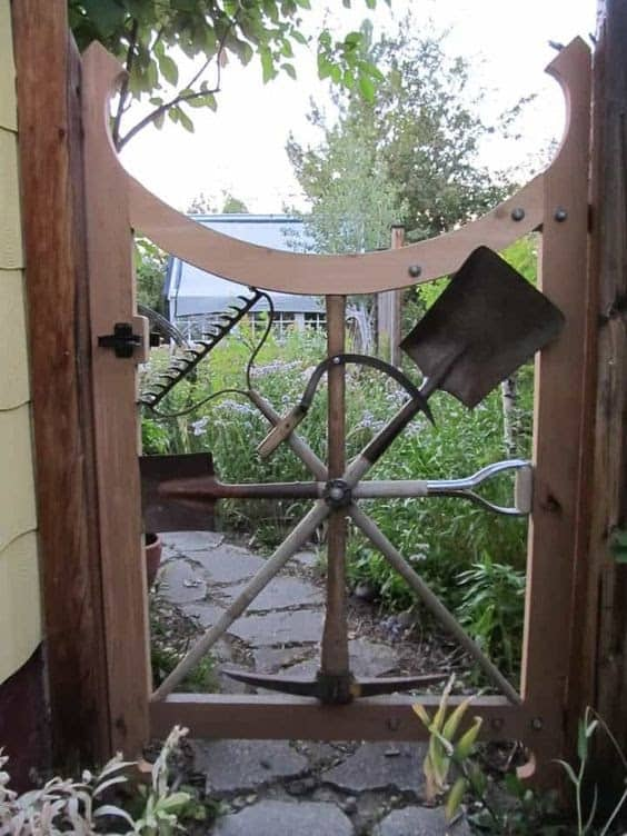 Recycled tools garden gate