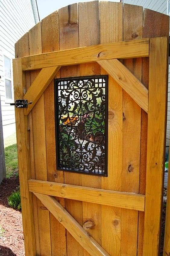 A solid wooden gate