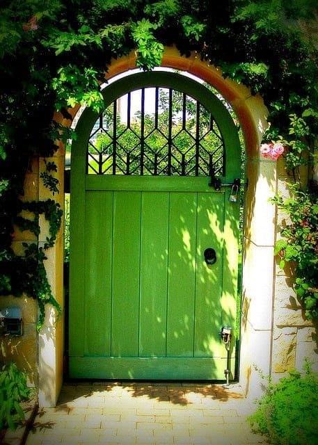 Classic green coloured yard gate