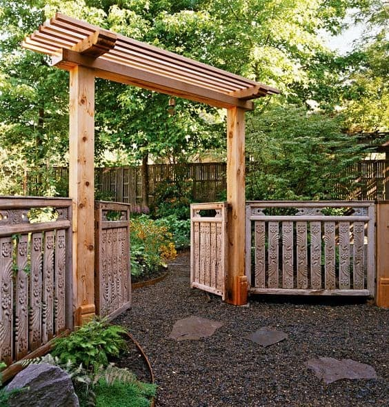 Big arbour and crafted fence