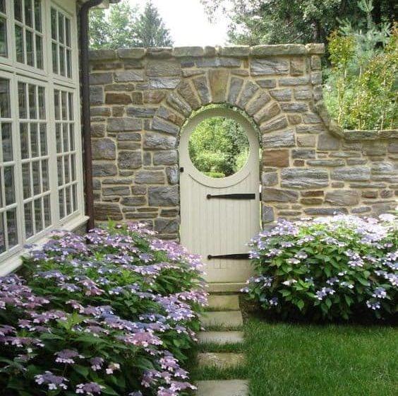 Cream gate on stone