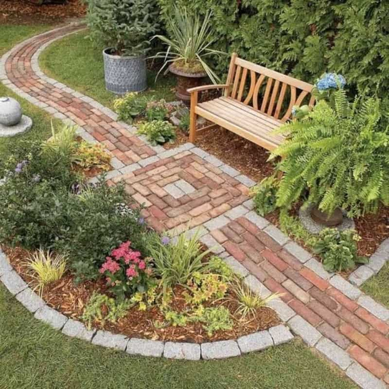 A pathway made with repurposed old bricks