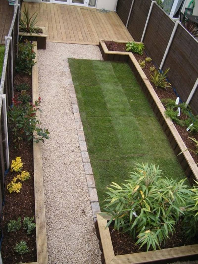 Some simple garden beds on the sides, nicely-cut grass and a pebble path