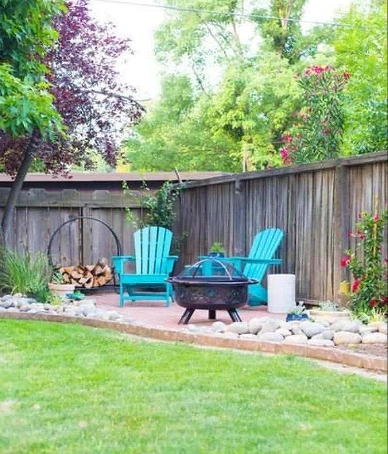 Blue chairs and fire pit