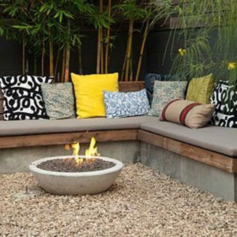 Fire pit and pebble floor