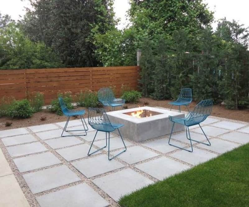 Concrete flooring and fire pit
