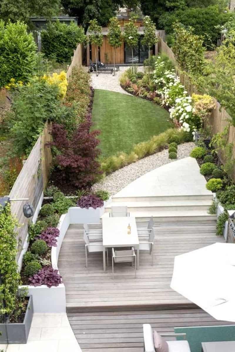 Long modern garden