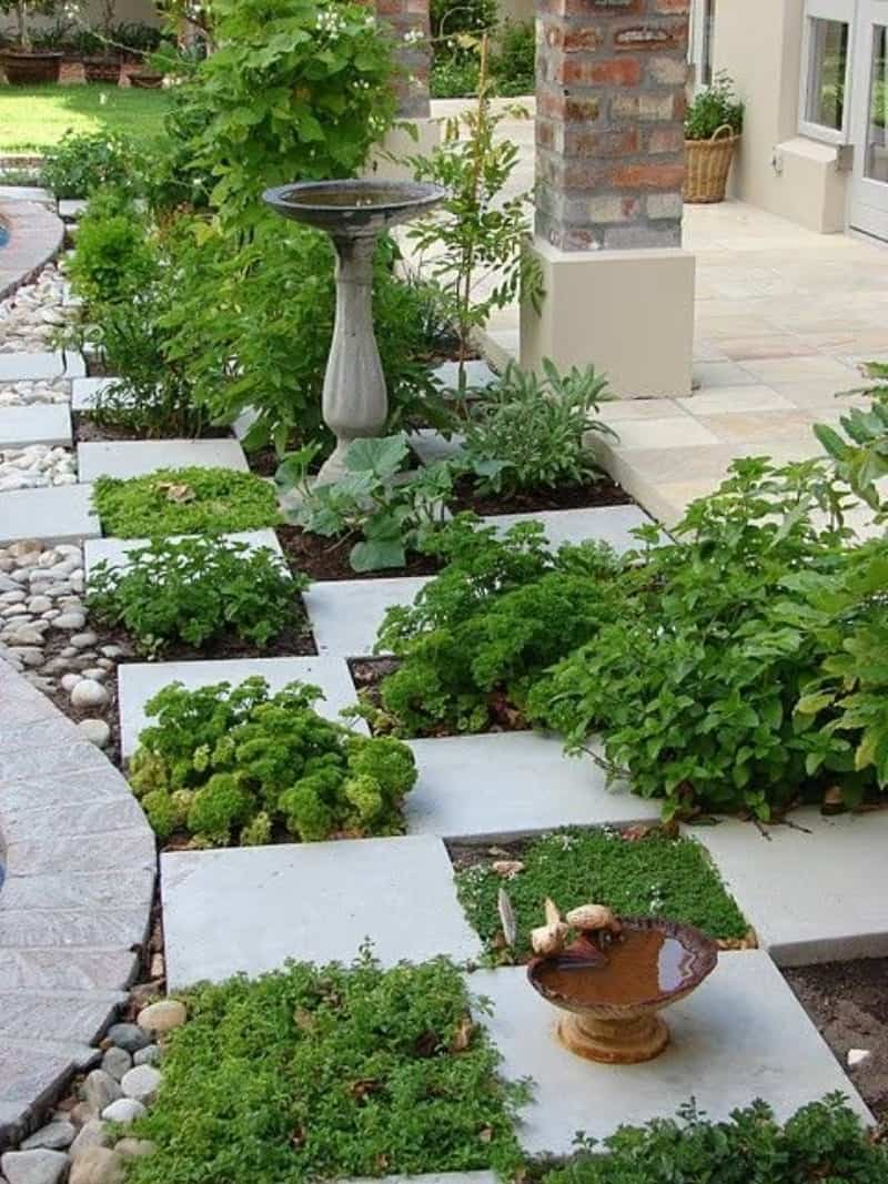 Chess board-style flower bed