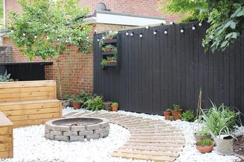 Modern garden with fire pit