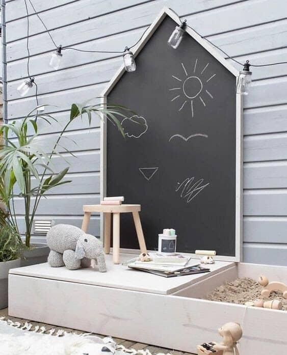 A chalkboard attached to a garden wall
