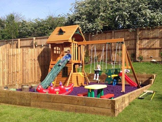 Playground in slope garden