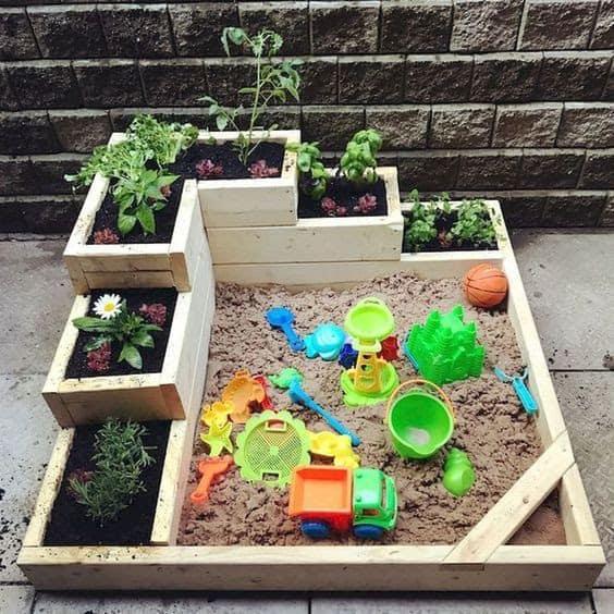 Sandbox and garden beds