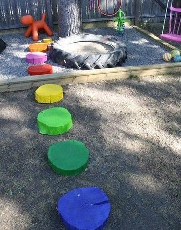 Recycled tree stumps as stepping stones
