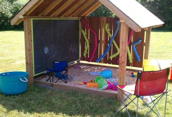 Chalkboard and sandbox with roof