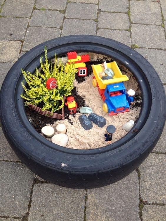Fairy garden in old tyre