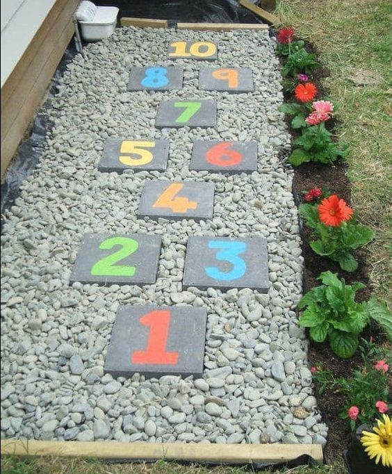 DIY numbered stepping stones