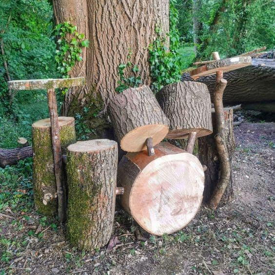 Natural drum kit made from woods