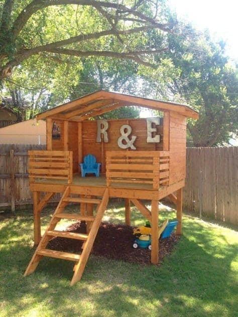 Backyard wooden fort