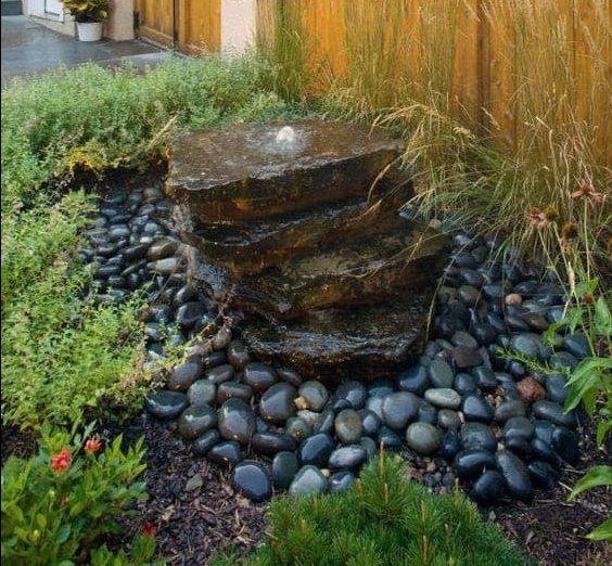 Garden fountain made with rocks