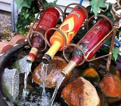 Recycled bottles fountain