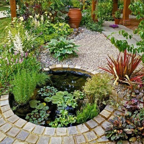 Stone-edged pond