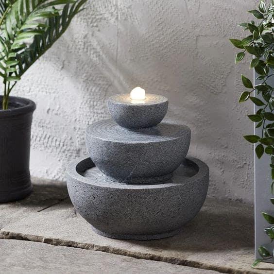 Grey stacked garden feature