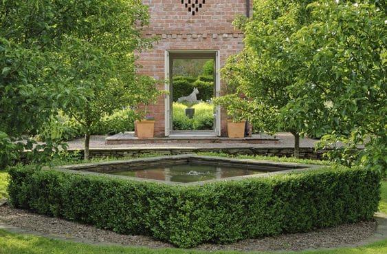 Square-shaped garden pond