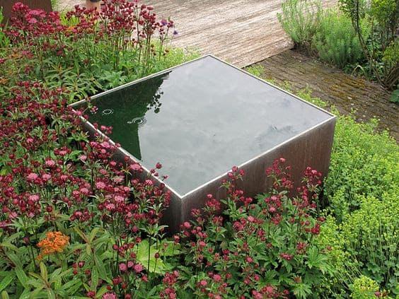 Raised square pond