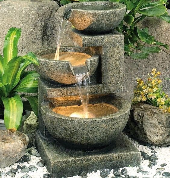 Granite three bowl fountain