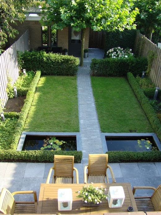 A garden with small ponds, left and right