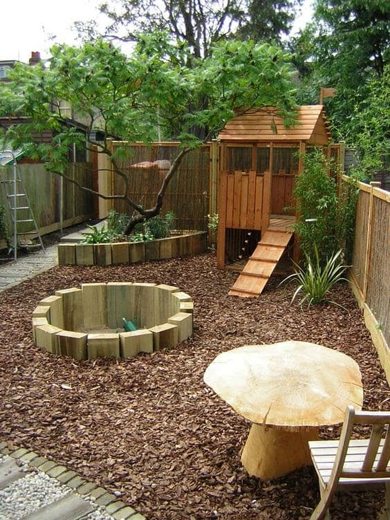 A wooden playground for the kids