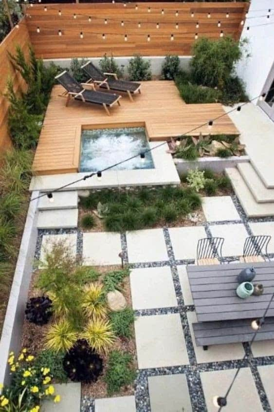 Clean, sharp lines giving this narrow garden a modern feel. Plus, with a Jacuzzi