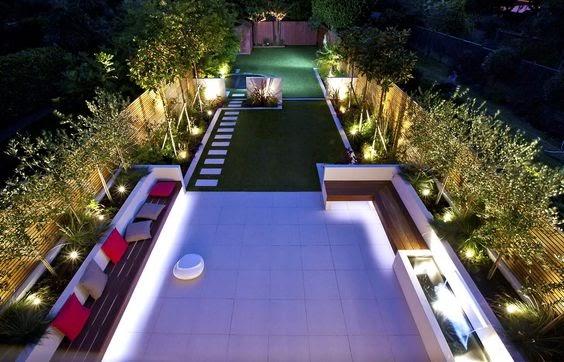 Modern backyard with lights