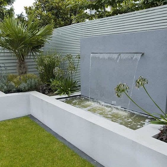 Waterfall and garden bed