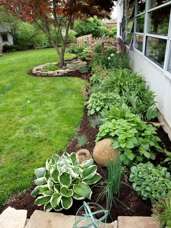 A curved flower bed