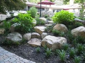 A variety of rocks as front yard decorations