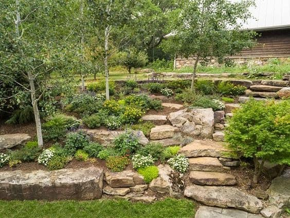 Slope rock garden