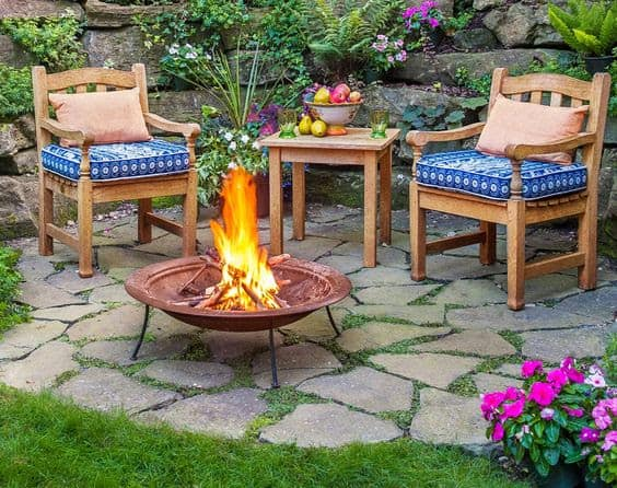 Rock garden and fire pit