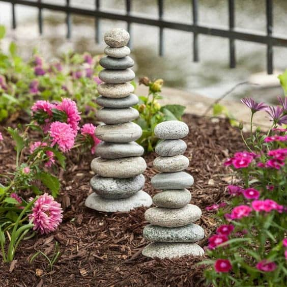 Stacked rock cairns