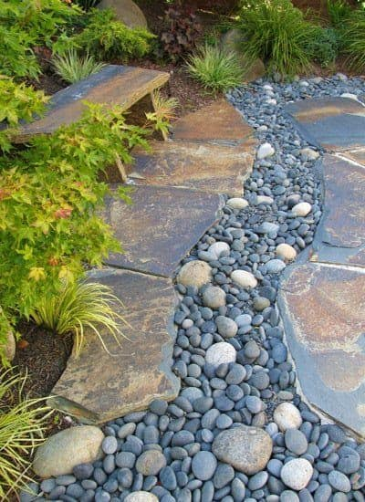 Dry creek bed made from stones