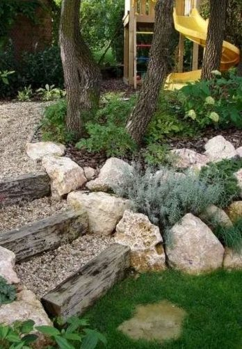 Rocks as garden decorations and small gravel as steps