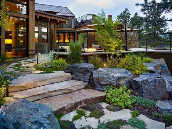 Modern rock front yard