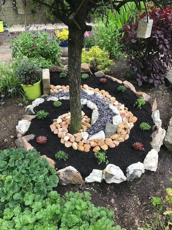 Rock spiral tree edging pattern