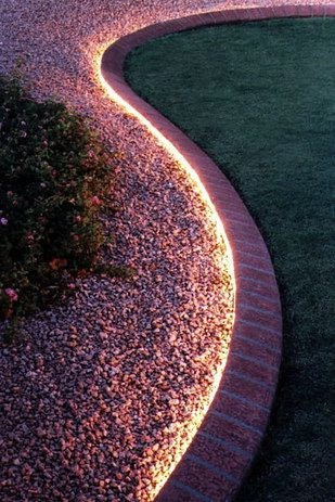 Light and pebbles for garden path