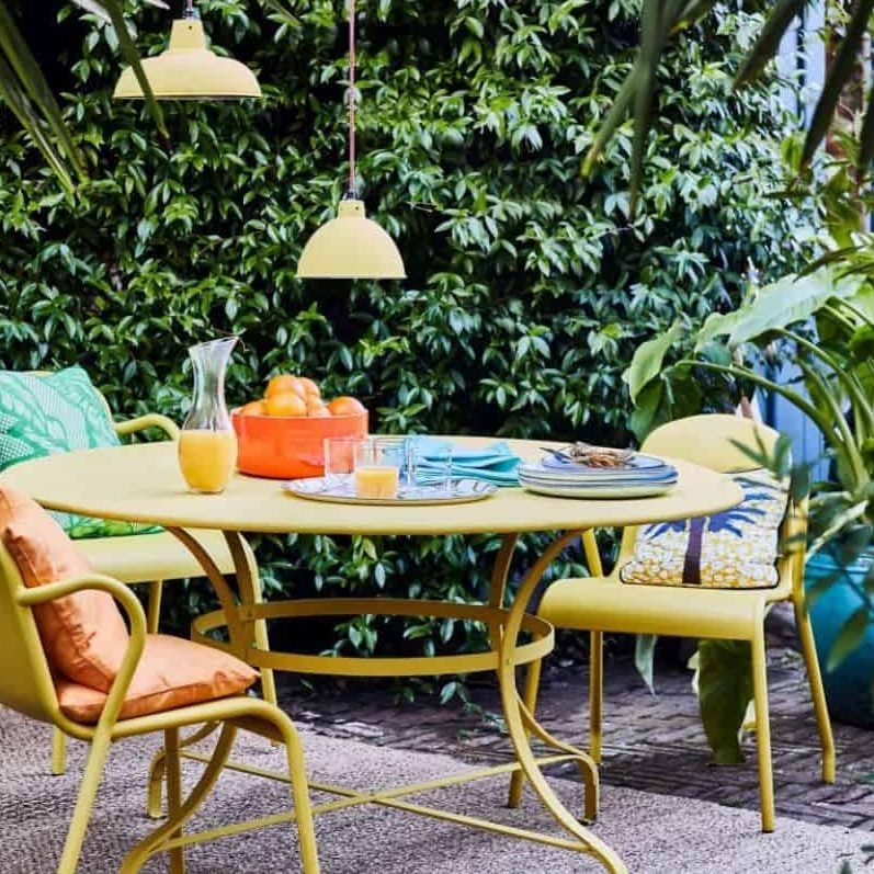 Garden furniture with neutral-toned colours