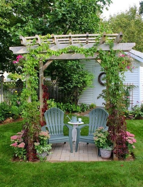 A simple garden pergola with some climbing plants for extra privacy and shade