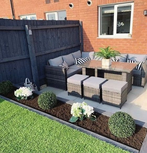 Small patio with L-shaped couch