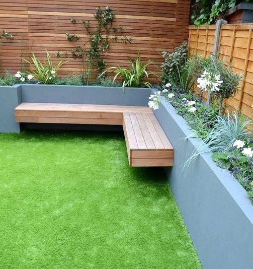 Garden beds and corner bench