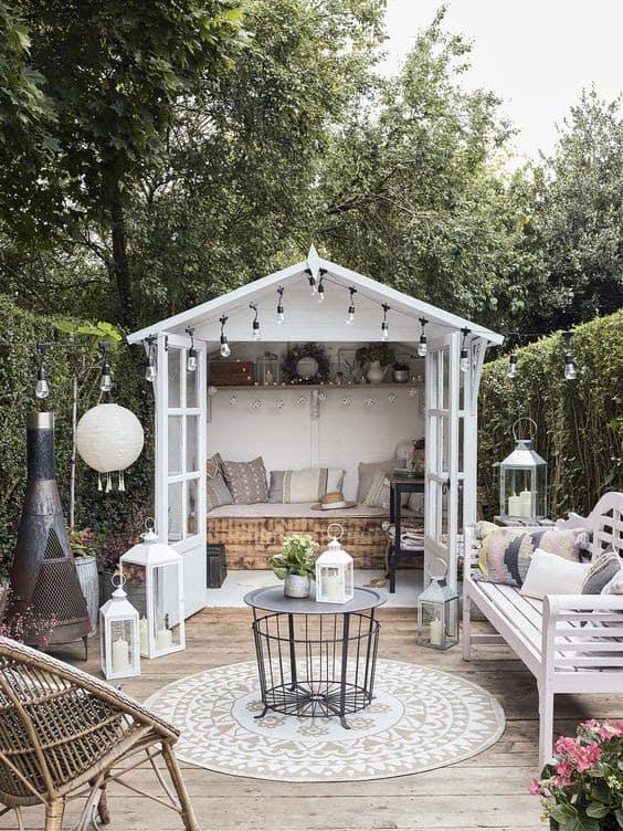Small garden white cabin